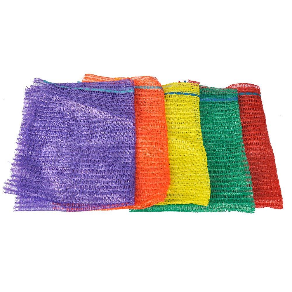 100 Orange Net Sacks 40cm x 60cm 15Kg with Drawstring Raschel Bags ...