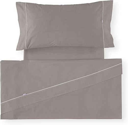 Es-Tela - Juego de sábanas liso con biés, color plomo, cama de 160 ...