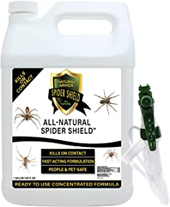 Natural Armor Spider Killer & Repellent Spray - Powerful Peppermint Formulation Kills & Repels All Types of Spiders and Works Better Than Ultrasonic Gimmicks – 128 fl oz Gallon Ready to Use