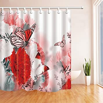 HiSoho Floral Decor Red Flower With Butterflies For Mothers Day Gift Shower Curtain 71X71 Inches Mildew