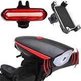 Fahrradlicht Fahrradbeleuchtung Set,Kenove USB Wiederaufladbare LED Fahrradlicht Vorne und Hinten mit Fahrrad Handyhalterung Für Radfahren