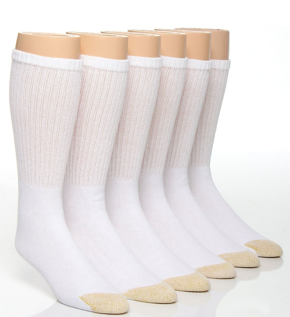 Gold Toe Men's Cotton Crew Athletic Sock 6-Pack (3 PK (18 PAIR) 10-13, White)