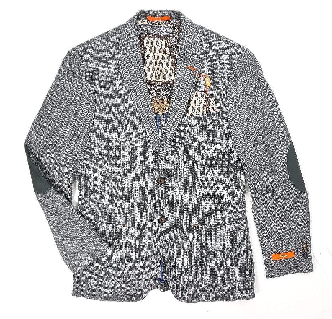 e763bda7b New $350 Tallia Orange Wool Gray Herringbone Sport Coat Elbow Patch ...