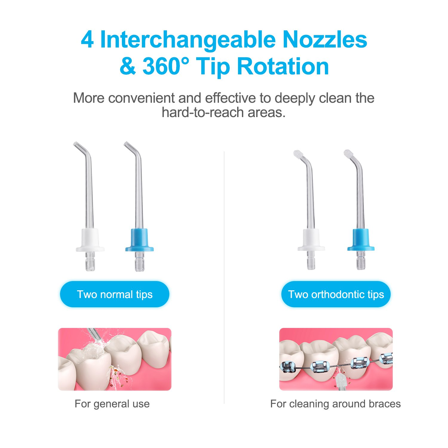 Electric Dental Water Flosser - Cordless Portable Oral Irrigator Rechargable with 3 Operation Modes and 4 Rotatable Jet Tips for Braces and Teeth Whitening by Fiery Youth (Image #4)