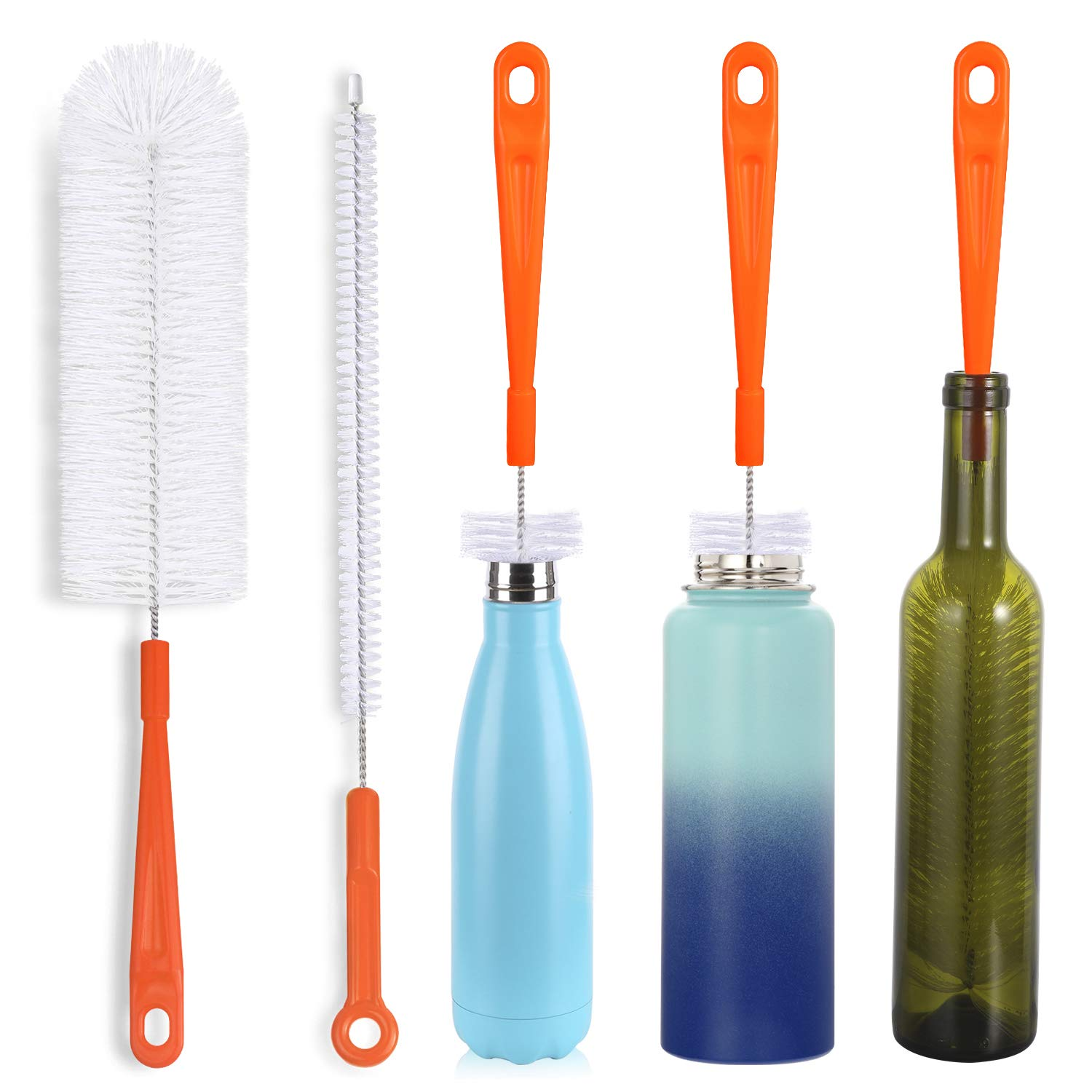 """16"""" Bottle Brush Cleaner for Water Bottle - Long Handle Bottle Brush for Cleaning Thermos Hydro Flask Contigo S'Well Simple Modern Narrow Neck Sport Bottles Kombucha Beer Wine Decanter and Jugs"""