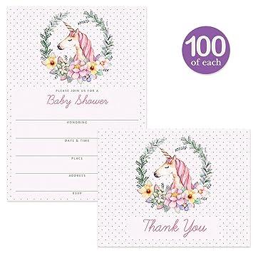 Amazon unicorn baby shower invitations matching thank you unicorn baby shower invitations matching thank you cards set 100 of each envelopes filmwisefo