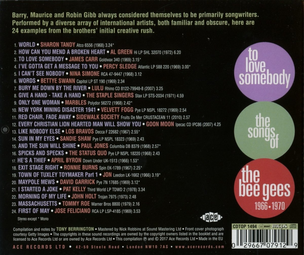 To Love Somebody The Songs Of The Bee Gees Amazon Fr Musique
