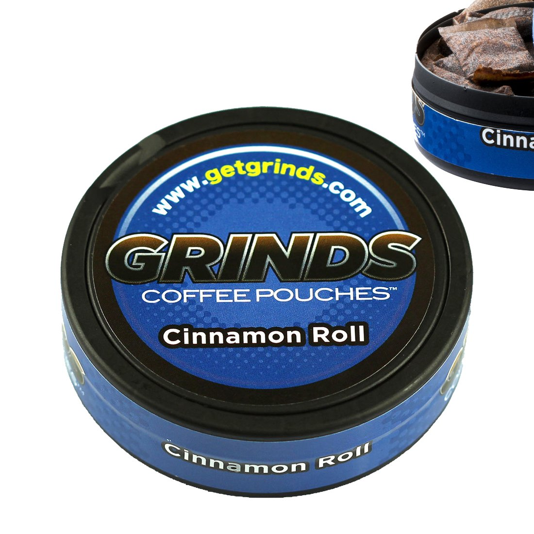 Grinds Coffee Pouches - 6 Cans - Cinnamon Roll - Tobacco Free Healthy Alternative