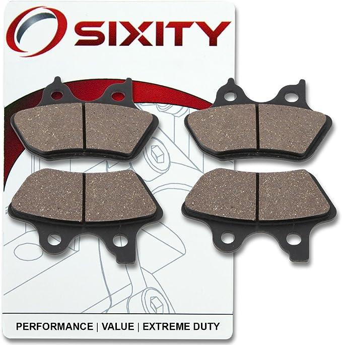 Sixity Front Rear Organic Brake Pads 2000-2003 for Harley Davidson FXD Dyna Super Glide Set Full Kit Complete