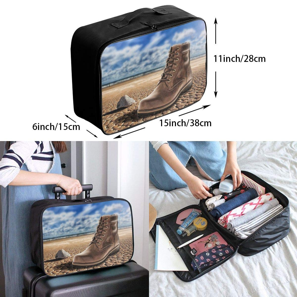 A Boot On A Dry Land Canvas Travel Weekender Bag,Fashion Custom Lightweight Large Capacity Portable Luggage Bag,Suitcase Trolley Bag