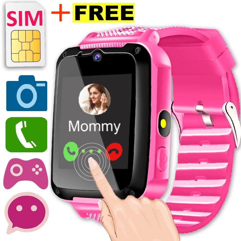 Kids Smart Watch Phone with Free SIM Card [Speedtalk] for Girls Boys Game Watch 1.44'' HD Screen 2 Way Call Camera SOS Flashlight Bracelet Cellphone Wrist Watch Gifts for Summer Birthday (Pink)