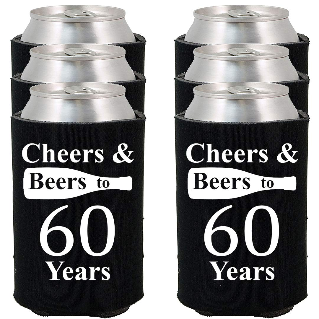 Shop4Ever Cheers & Beers to 60 Years Can Coolie Birthday Drink Coolers Coolies Black - 6 Pack