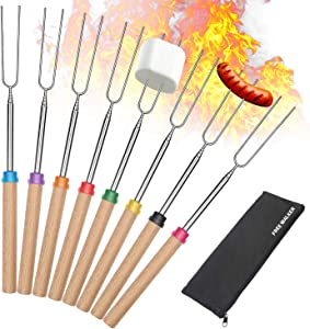 Marshmallow Roasting Smores Sticks,32-inch Extendable Sturdy Stainless Steel Roasting Forks for BBQ,Campfire,Hot Dog,Telescoping Camping Accessories Stove Fork,Safe for Kids,8 Sticks with Storage Bag