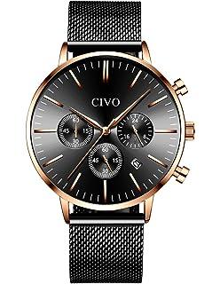CIVO Relojes Hombre Lujo Impermeable Cronógrafo Multifuncional Negro Azul Moda  Relojes de Pulsera Acero Inoxidable Calendario d3004a990132