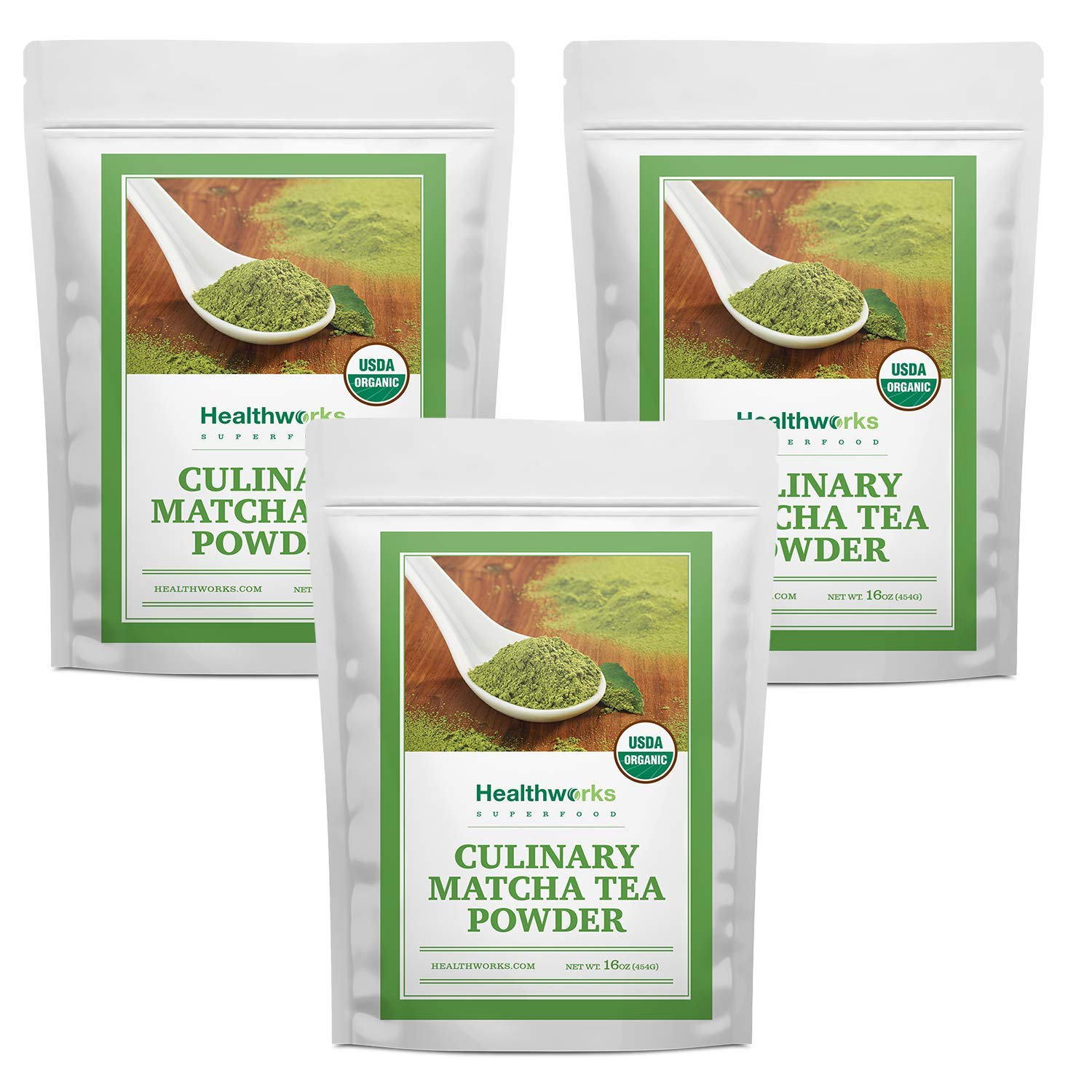 Healthworks Matcha Green Tea Powder Unsweetened (48 Ounces / 1 Pound) (3 x 1 Pound Bags) | Pure Certified Organic Premium Culinary Grade Extract | Keto, Vegan & Non-GMO | Smoothies, Lattes & Ice Cream by Healthworks