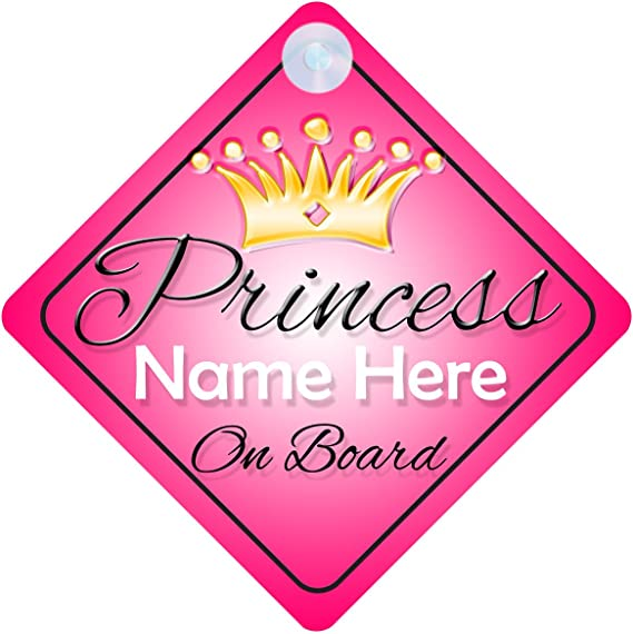 Non Personalised Child//Baby On Board Car Sign ~ Grandmas Prince On Board ~L.Blue