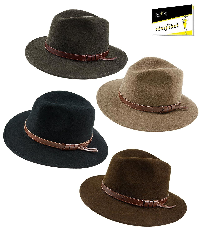 EveryHead Fiebig Cappello Di Feltro Da Uomo In Panama Cowboy Lana Pioggia  Resistente All Acqua Crushable Con Nastro Pelle Per Uomini  (FI-30665-S17-HE0) incl ... fdcbed352524