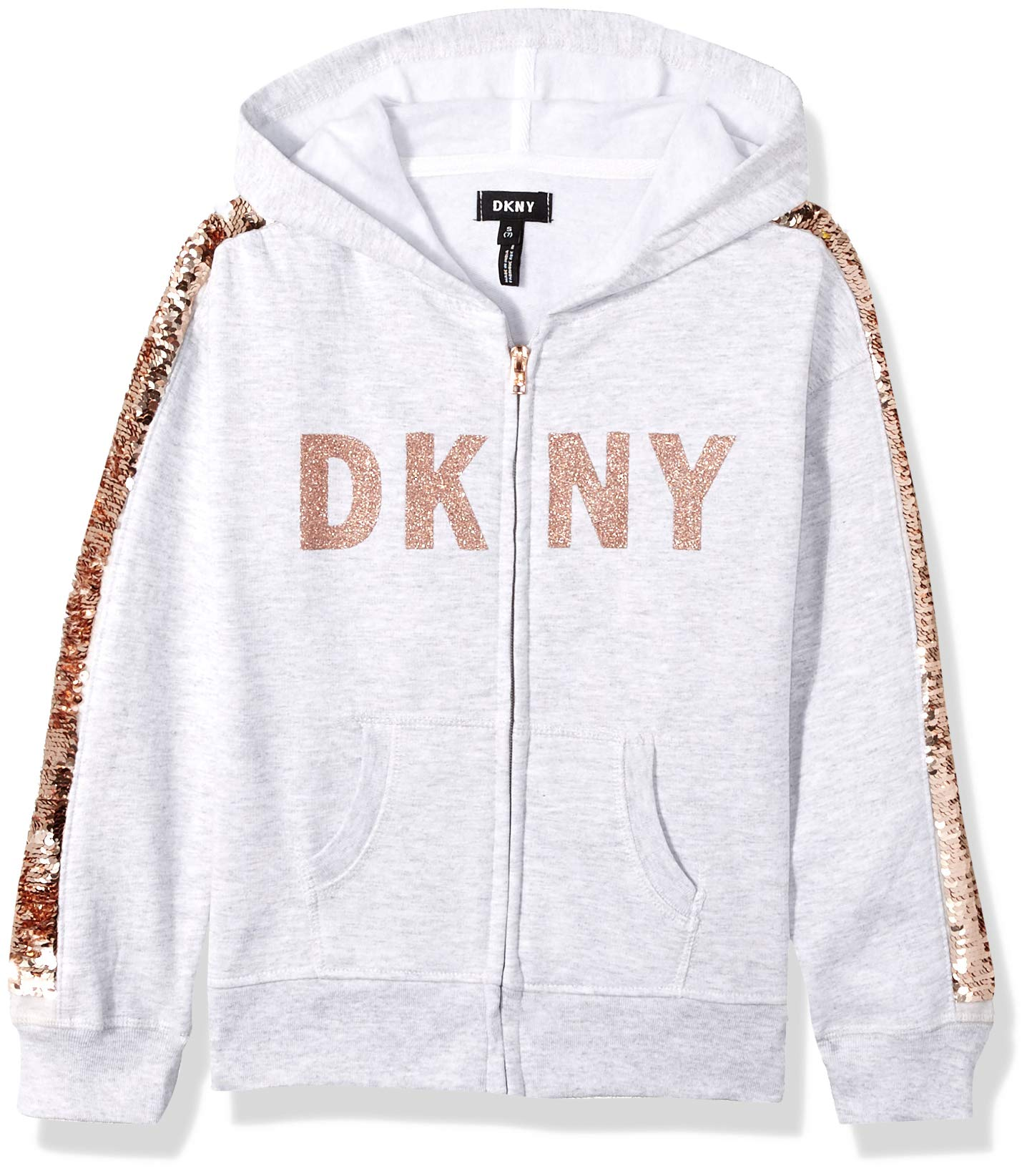 DKNY Girls' Big Sequin Zip Up Hoodie, Oatmeal Heather, 14/16
