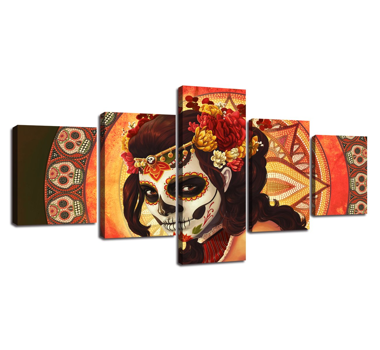 Day of the Dead Sugar Skull Girl's Face Group Wall Art Canvas Painting 5 Panels All Saints Day Halloween Mexican Skull Poster Picture Artwork for Living Room Bedroom Home Decor Framed (50''Wx24''H)