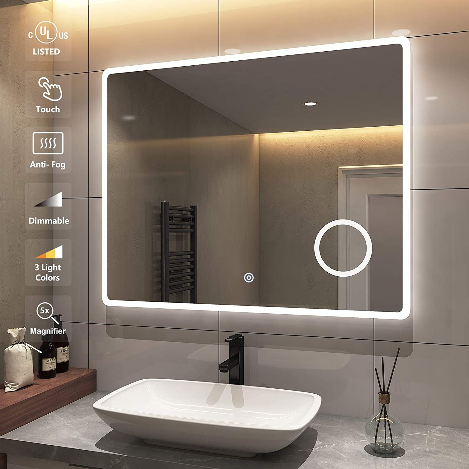 Emke 40 X 32 Inch Bathroom Led Mirror Anti Fog Dimmable Wall Mounted Vanity Mirror With Lights And Magnifier Brightness Memory Ip44 Waterproof Cri 90 Ul Listed Kitchen Dining