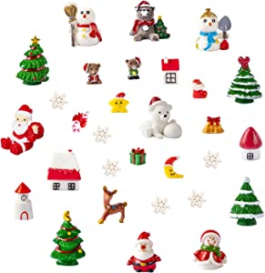 Christmas Theme Resin Miniature Fairy Garden Dollhouse Decoration Ornaments DIY Kit, Set of 30 Pieces