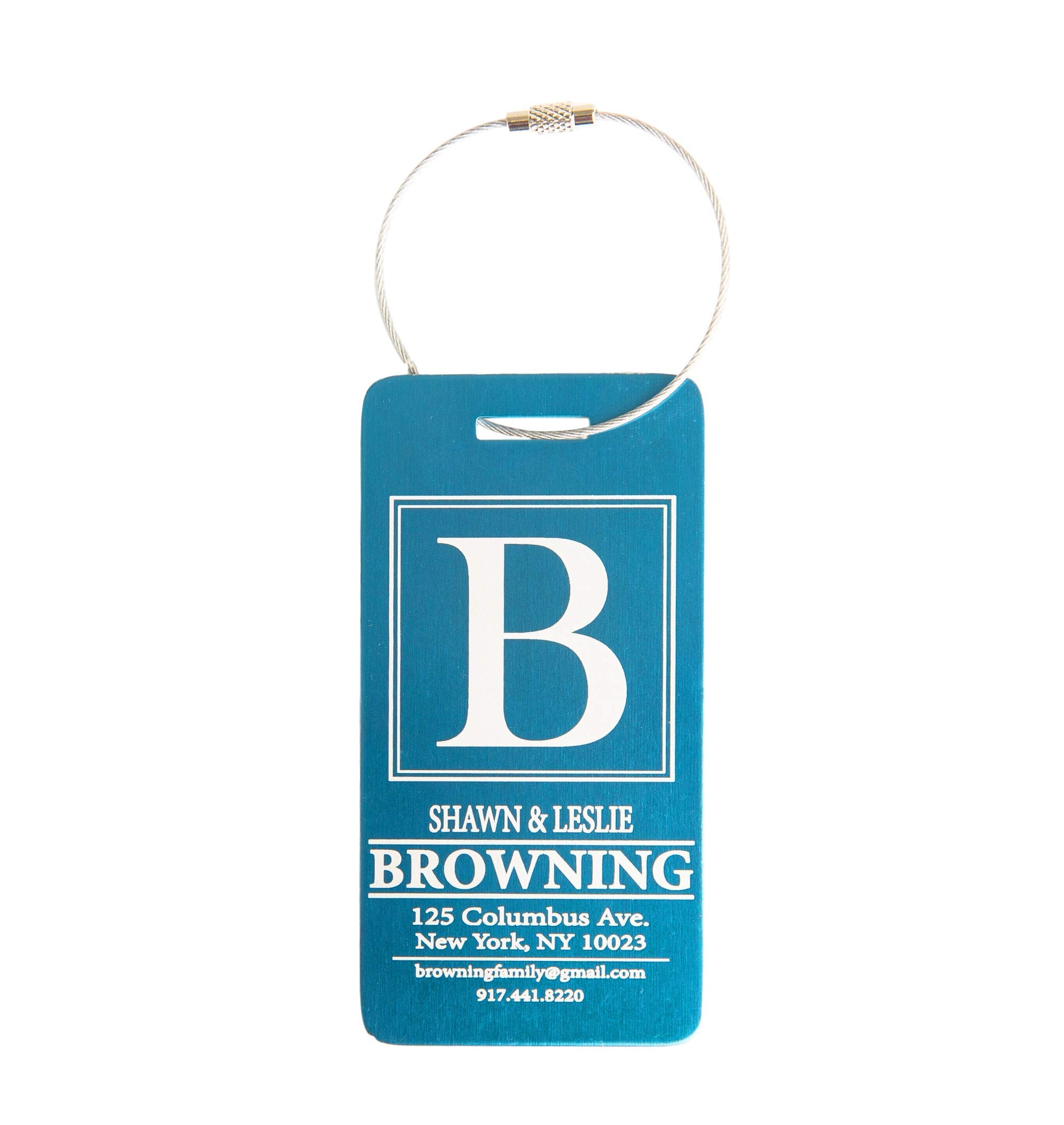Personalized Luggage Tags Gifts with Engraved Design - Elegant and Durable Travel Suitcase Name Tags, Gift for Travelers Men and Women (4 Luggage Tags, Aqua)