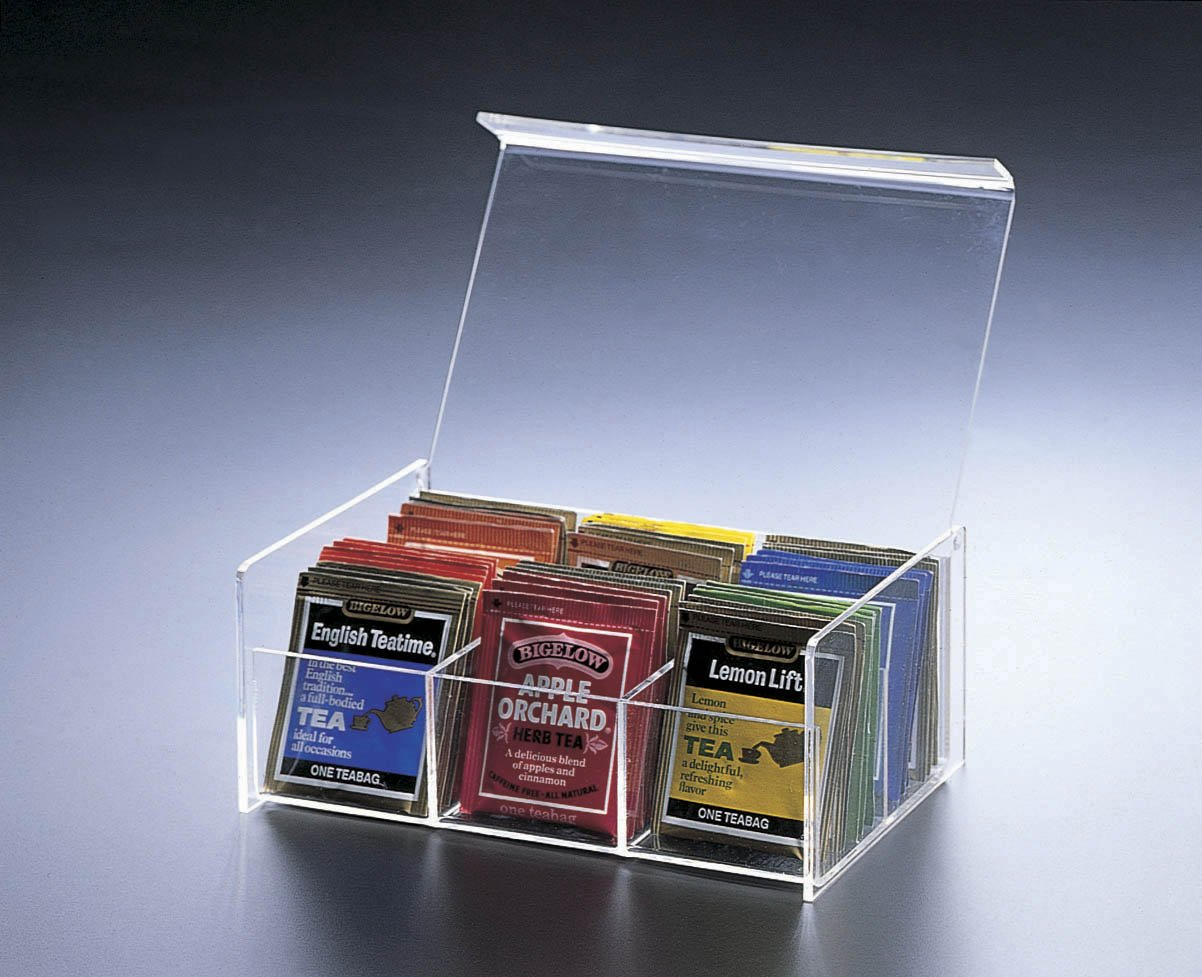Acrylic Lucite 6 Compartment Tea Bag Box with Hinged Lid