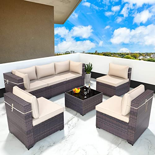 Gotland All-Weather 7 Pieces Patio Sofa Rattan Outdoor Furniture Sets Handwoven Wicker Patio Dining Conversation Sectional Set