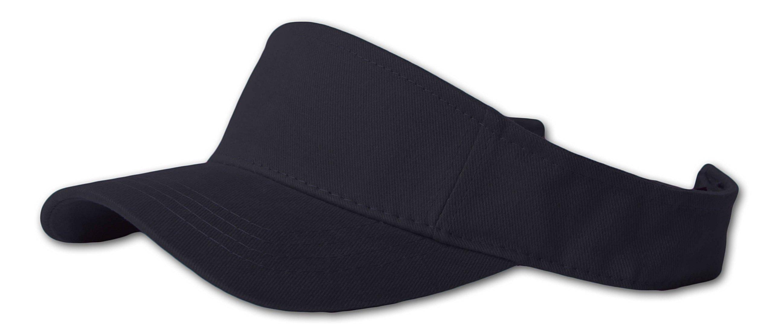 12 Lot (One Color) Visor Caps- Black