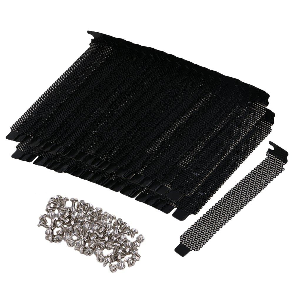 Yibuy 100PCS Black PCI Slot Cover Dust Bracket Blanking Case PC Desktop Computer