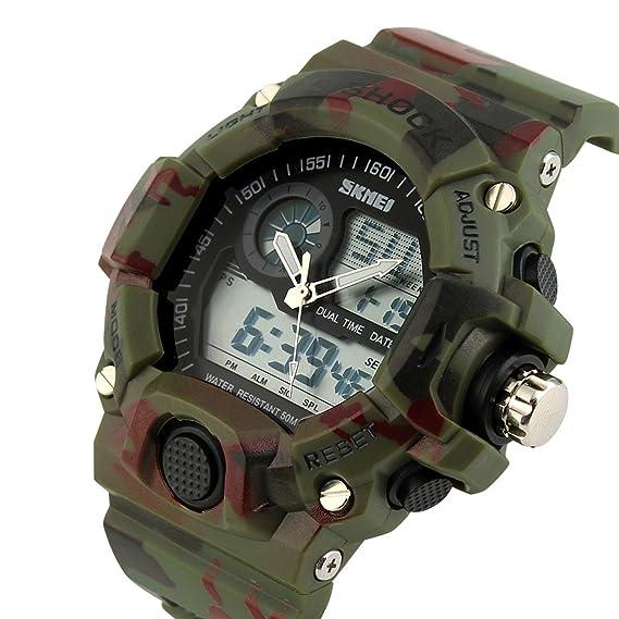 pasoy hombre multifunción reloj deportivo militar camuflaje banda de color de retroiluminación de tiempo digital 2 relojes: Amazon.es: Relojes