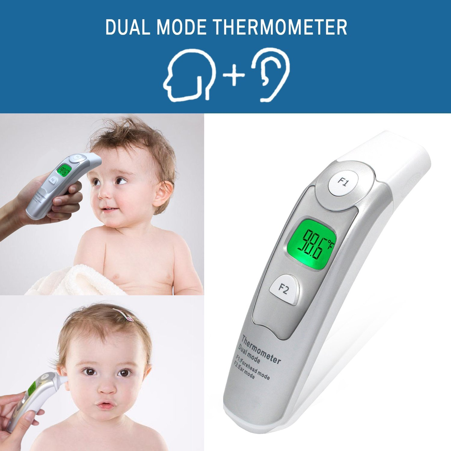 Best Baby Thermometer - Forehead and Ear Thermometer - FDA and CE Approved - 510k Certification - Adult and Child - Professional Medical Dual Mode - Fast and Accurate - Safe and Hygienic by TempIR (Image #2)
