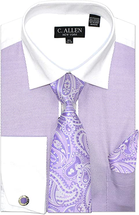 Mens 15.5 34//35 Slim Fit Lavender Purple Dotted Stripe Spread Collar Cotton B...