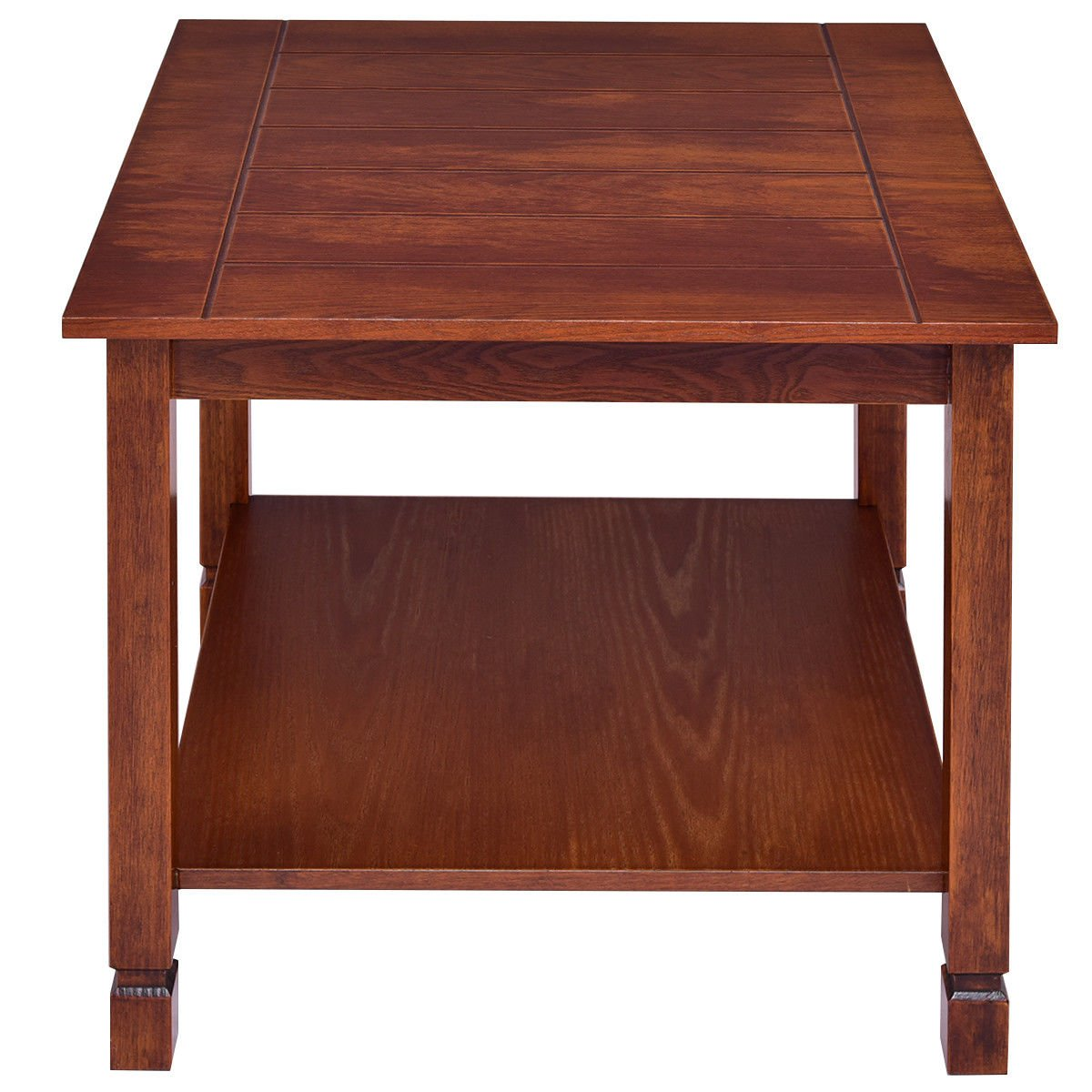 Giantex Pine Wood End Table with Shelf, 2-Tier Side Table with Storage Bedside Sofa Table for Living Room, Bedroom, Solid Sturcture Eco-Friendly Material Espresso Coffee Table Nightstand (Walnut) by Giantex (Image #5)