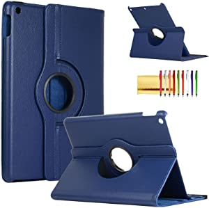 Rotating Case for iPad Pro 12.9-inch 1st & 2nd Generation (2015/2017), Techcircle Slim Premium PU Leather Smart Cover Multi-Angle Viewing Stand Folio Magnetic Hard Shell Protective Case, Navy