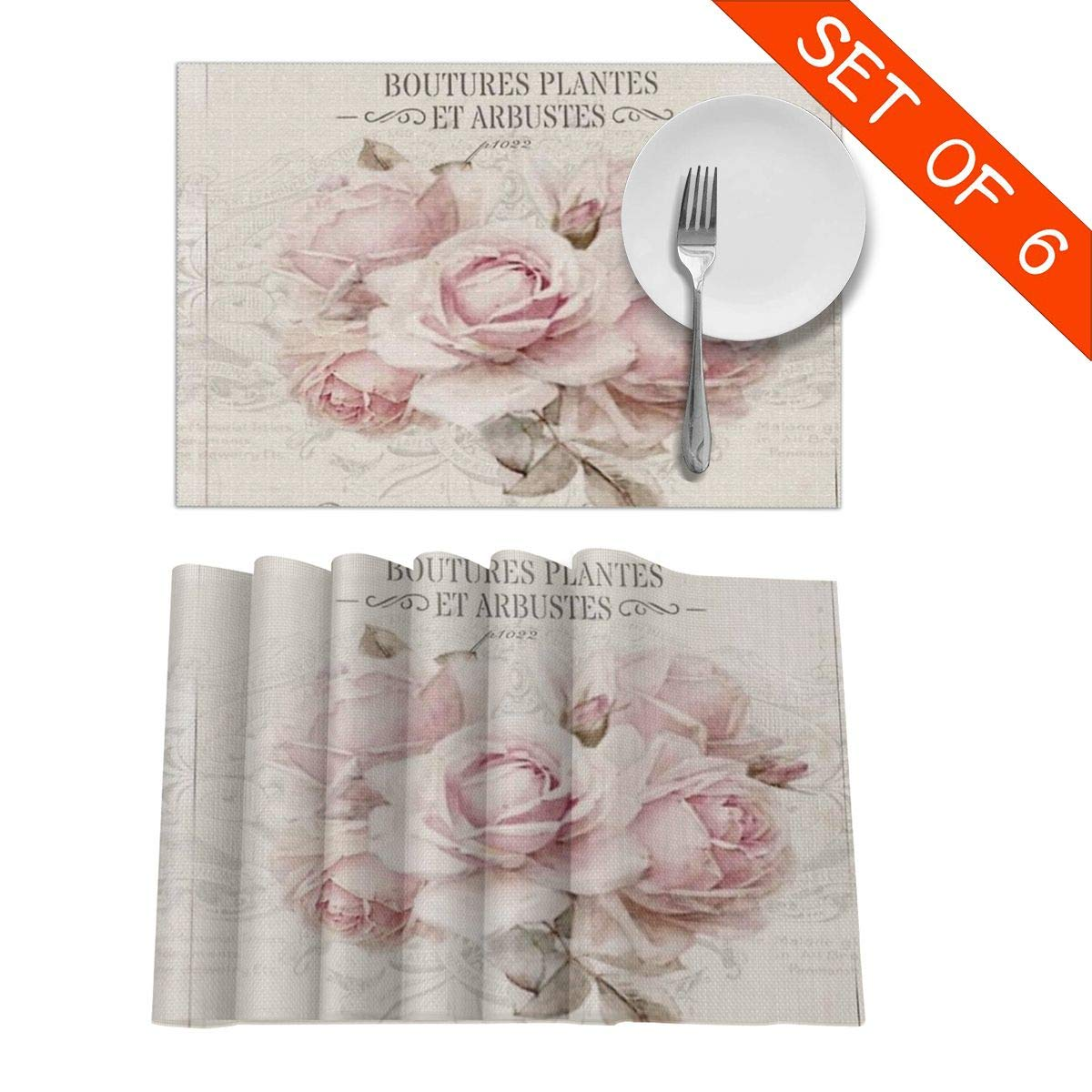 BlueBling French Shabby Chic Rectangular Table Placemats Set of 6 Table Mats Good Vibes Skid-Proof Heat-Resistant Stain Resistant Kitchen Mats for Dining Table Easy to Clean 18 X 12 in