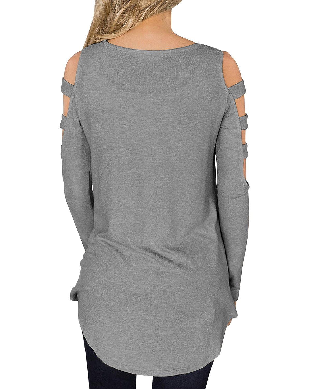 5e9d18648db2a4 ACHIOOWA Damen Langarm Schulterfrei Shirt Frühling Oversize Oberteil Bluse Hollow  Stretch Tunika Grau 2XL  Amazon.de  Bekleidung