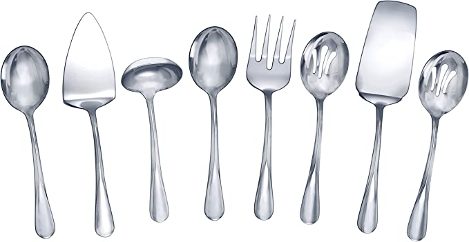 Amazon Com Gourmet Basics By Mikasa Kaylee 8 Piece Stainless Steel Hostess Serving Utensil Set Flatware