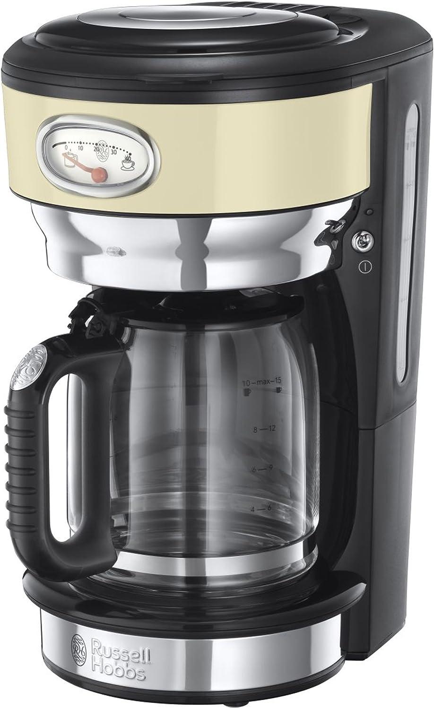 Russell Hobbs Retro 21702-56 Macchina da Caffè, 1000 Watt, 1.25 Litri, Acciaio Inossidabile, Crema