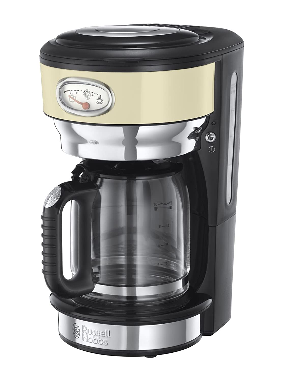 Russell Hobbs 21702-56 Retro - Cafetera de acero inoxidable con jarra de cristal, color crema: Amazon.es: Hogar