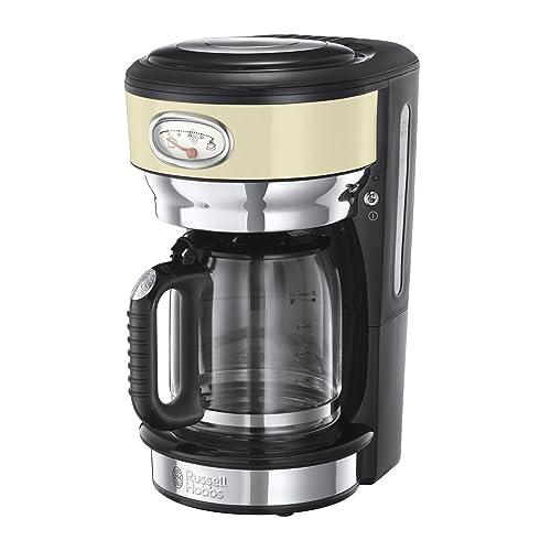 Russell Hobbs 21702-56 Coffee Machine Retro Vintage noir-21702-56, Stainless Steel, 1000 W, 1.25 liters, Cream