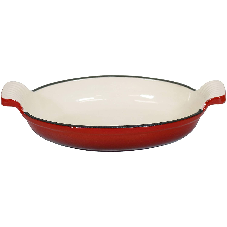 Sunnydaze Decor Oval Enameled Cast Iron Baking Dish Pan, 6 x 1 x 8 Inch, Red and Cream