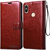 Bracevor RDY2ELLCBR Leather Flip Case Cover for Redmi Y2 (Executive Brown)