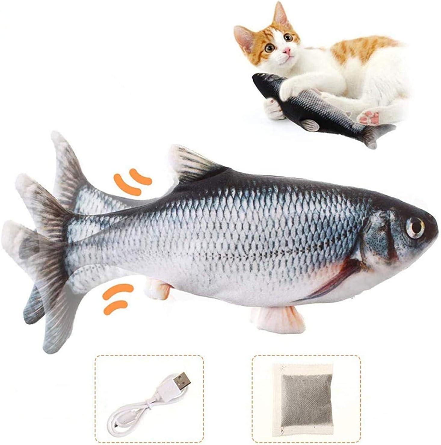 Charminer Juguetes Eléctricos para Peces Catnip,USB Simulación Hierba gatera Eléctrica Juguete Pez para Gato Simulación Realista Mascotas Interactivo de Felpa Pez para morder,Masticar,patear y Dormir