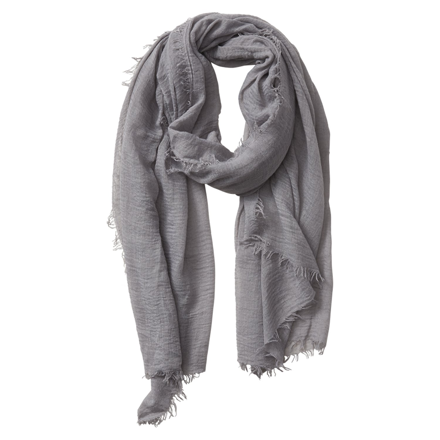 Tickled Pink Classic Soft Solid Stylish Long Lightweight Pashmina-Like Cotton Blend Scarf 38 x 70'' - Dark Gray