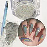 NICOLE DIARY 1g Holographic Rainbow Laser Glitter Powders with Silicone Brush Manicure Nail Art Decoration