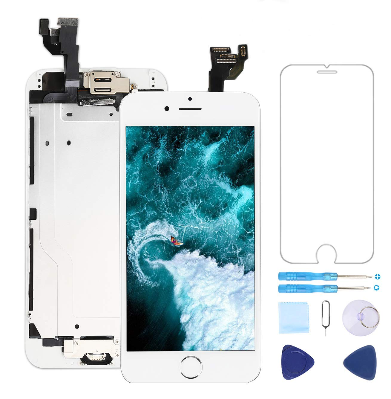 Screen Replacement for iPhone 6 White 4.7'' Inch LCD Display Touch Digitizer Frame Assembly Full Repair Kit,with Home Button,Proximity Sensor,Ear Speaker,Front Camera,Screen Protector,Repair Tools by Topscreen