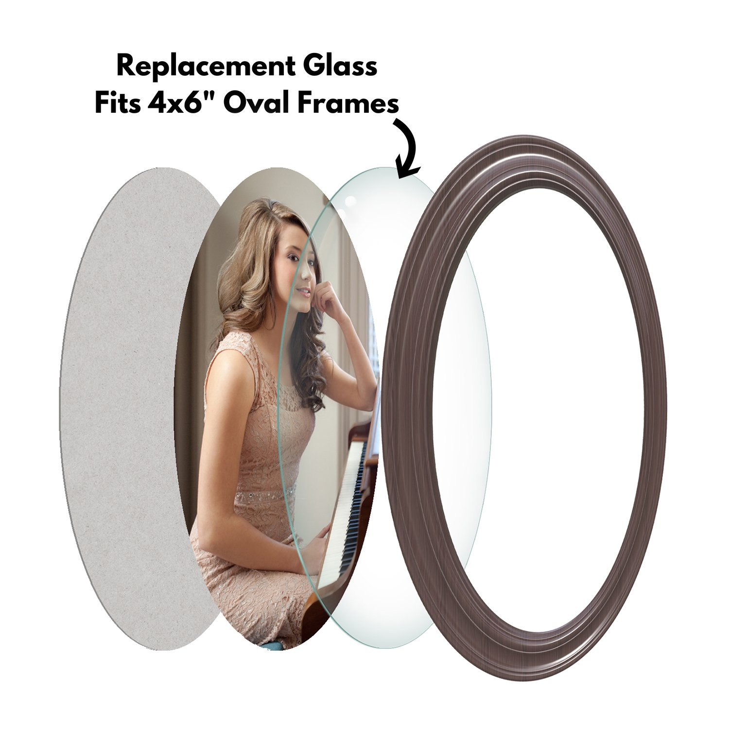 Icona Bay Oval 4x6 Glass Replacement for Frames /(2 Pack/) - Picture ...