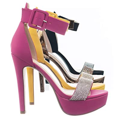 0d415698f59 Speed Limit 98 Rhinestone Encrusted Platform High Heel Sandal w Thick Ankle  Strap Pink