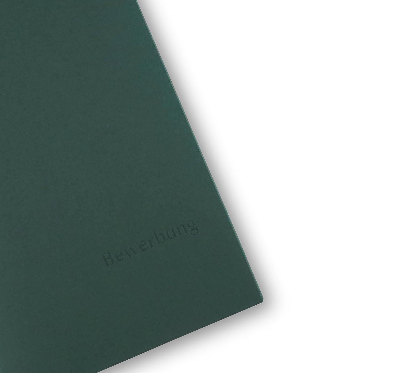 Premium-Qualit/ät mit edler Relief-Pr/ägung Bewerbung 5 St/ück 3-teilige Bewerbungsmappen BL-exclusivdruck/® OPTIMA-plus in Steingrau Produkt-Design von Mario Lemani
